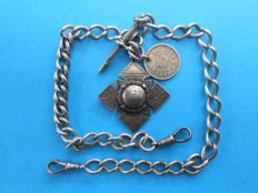 Lot of four sterling silver pocket watch chains from the late 19th century to the early 20th century