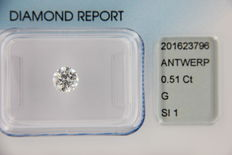 Diamond, round brilliant, 0.51 ct  colour G – clarity SI1 – IGI certificate – Laser inscription