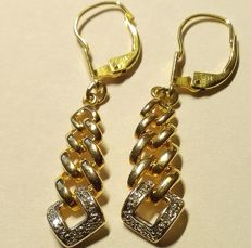 Charming earrings in 14 kt 585/1000 yellow gold and white gold