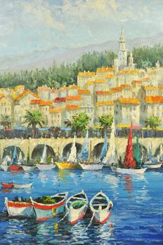 Grand painting of sailing yachts in front of a mediteranean coastline
