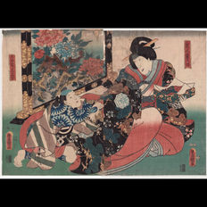 "Two large original japanese Woodblock Prints diptych  ""Menoto Shigenoi with Jinenjo no Sankichi""   by Utagawa Kunisada  - Japan -  1853"