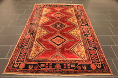 Old high quality handwoven Persian carpet Malayer, Made in Iran, plant colours, 155 x 240 cm