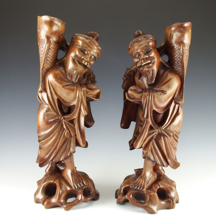 Matching pair of two Immortal candlesticks - China - first half 20th century