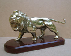 Figurine of gold patinated lion, 2nd half of 20th century
