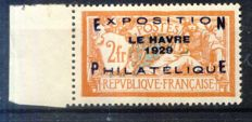 France 1929 - Le Havre Exhibition - Yvert no. 257A, edge of sheet signed Calves with digital certificate