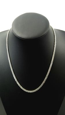 Silver curb link necklace, 925 kt.  Length: 50.3 cm, width: 0.4 cm, weight: 20.3 g