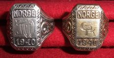 "Third Reich. World War II Two silver rings ""NORGE 1940""."