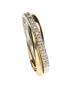 14 kt yellow and white gold ring set with 10 brilliant cut diamonds - ring size 16.5
