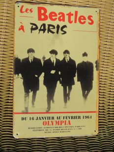 "Two Stunning Metal Beatles  Memorial Signs - A Hard Days Night - And Beatles Concert "" the beatles Live In Paris  """