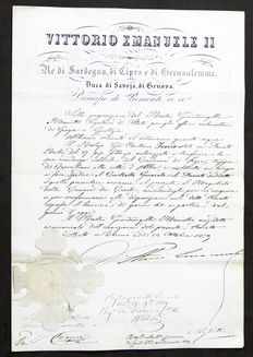 Decree with signature of Victor Emmanuel Kind of Sardinia and Prince of Piedmont - 1859