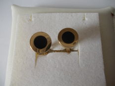 18 kt yellow gold cufflinks with onyx – 12 mm diameter