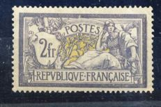 France 1900 - 2 Fr Merson Grey & Yellow - Yvert no. 122, signed Calves and digital certificate