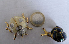 Two vintage brooches - ladybird and snail