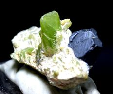 Attractive Terminated Peridot Crystals Cluster with Rare Magnetite on Matrixl -  55*30*30 mm - 40 Gram