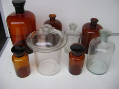 Large apothecary jars and bottles