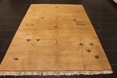 Wonderful Persian carpet, Gabbeh wool on wool, Nomad work, made in India, natural colours 175 x 245 cm, very good condition