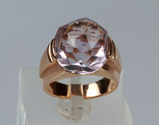 Yellow gold ring with amethyst – size 13/14