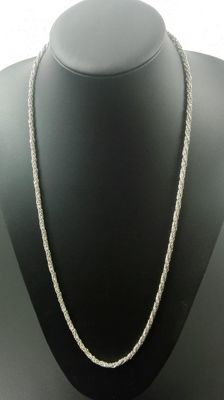 925 silver twisted necklace, length: 72,2 cm