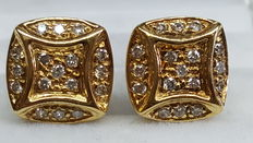 18 kt yellow gold earrings set with 34 brilliant cut diamonds