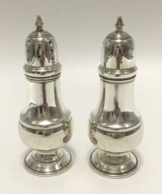 Silver pepper and salt shaker set, B & M Bladwin & Miller