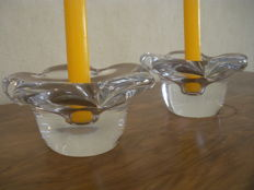 Daum 2 crystal candlesticks signed Daum Nancy Croix de Lorraine, France