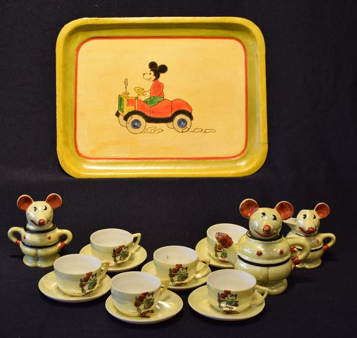 Rare Mickey Mouse porcelain childrenu0027s tableware set Borgfeldt - Disney & Rare Mickey Mouse porcelain childrenu0027s tableware set Borgfeldt ...
