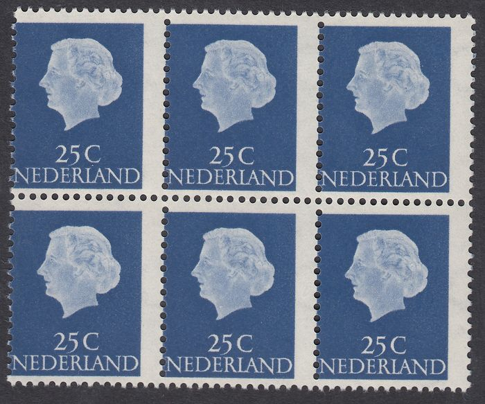 Nederland 1953 - Queen Juliana 'And profil', misprint - NVPH 623 in blok van 6 met verschoven perforatie