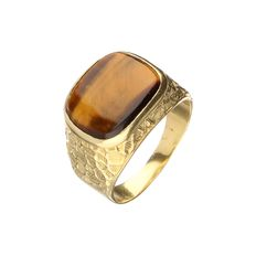 18 kt yellow gold men's ring with tiger's eye – size 20.75