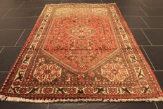 Antique, high quality, hand-knotted Persian carpet, Qashqai, made in Iran, natural dyes, 100 x 150 cm