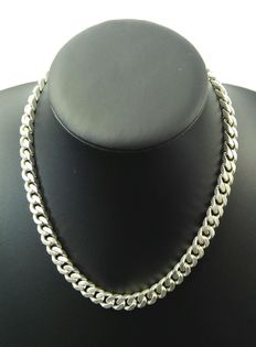 Silver curb link necklace, 800 kt. Length: 54.8 cm – Width: 0.8 cm – Weight: 75 g