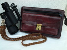 """Unusual monocular - """"SUPRA""""  10 X 50 !!   - 114m @ 1000m + """"opt. lenses"""" and sporty, worn leather carry case!!"""