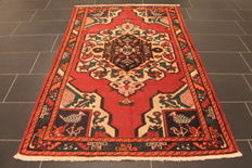 Rare beautiful semi antique old hand-knotted Persian carpet Bachtiar with animal motifs natural plant colours 130 x 200 cm