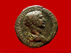 Roman Empire - Trajan (98-117 A.D.), bronze sestertius (25,59 g. 35 mm), Rome mint 115 A.D. SENATVS POPVLVSQVE ROMANVS / FORT RED / S C. Fortuna seated left.