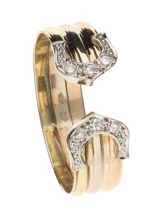 """Tricolour, 14 kt """"open"""" ring set with six brilliant cut diamonds, 0.12 ct in total - ring size 20."""