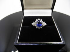 18k Gold Sapphire and Diamond Cluster Ring - size 54