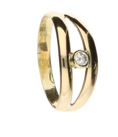 14 kt yellow gold ring set with a brilliant cut diamond of 0.09 ct - ring size 20