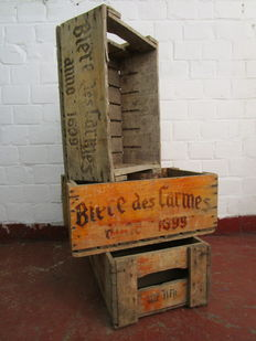 "Lot; 3 Antique beer crates ""Biere Des Carmes"" - 1850/1900"