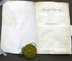 Charter of the Order of St. Maurice and St. Lazarus with signature of Charles Albert of Savoy, King of Sardinia - 1835