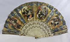 A two-faced folding fan - bone with silver and gilt inlay, the leaf partly engraved and partly painted - Spain - circa 1850