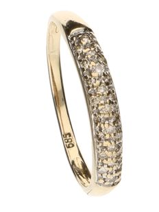 Yellow gold ring, 14 kt, set with 25 brilliant cut diamonds, 0.25 ct in total – ring size 18.5