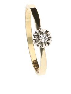Yellow, 14 kt gold, solitaire ring with a 0.04 ct diamond in a white gold setting - ring size 17.5.