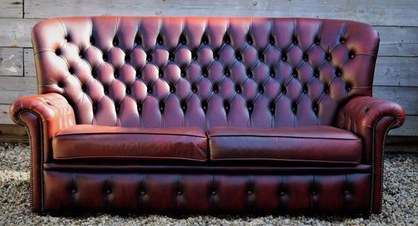 A Leather Chesterfield Style High Back Sofa, England, Late 20th Century