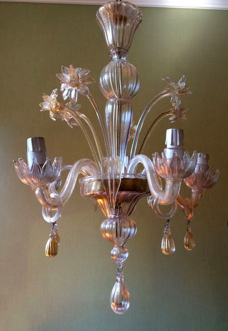 Antique 5-lights Murano chandelier with golden powder. 24 K