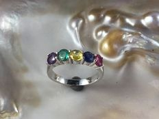 18 kt white gold ring with gemstones - Size 54