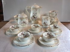 27 pieces coffee set in fine gilded porcelain - Gien - Yokoama series