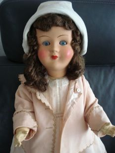 Doll - marked 8S GERMANY - paper mache - glass sleep eyes - closed mouth - dressed - old hair wig - 70 cm - 1920s