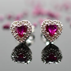 Gold earrings with heart-shaped rubies and brilliant cut Diamonds ***No Reserve Price***