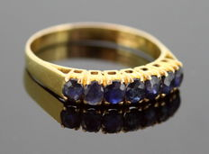 Vintage 18K yellow gold ring with blue sapphire (0.49 ct) ca.1970 - Size: (UK) = T (US) = 9 3/4 (EU) = 61 1/2
