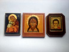 Lot of 3 handcrafted icons Russian 20th century