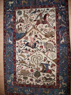 Hand-knotted Ghom carpet from Iran, 217 x 138, around 1950